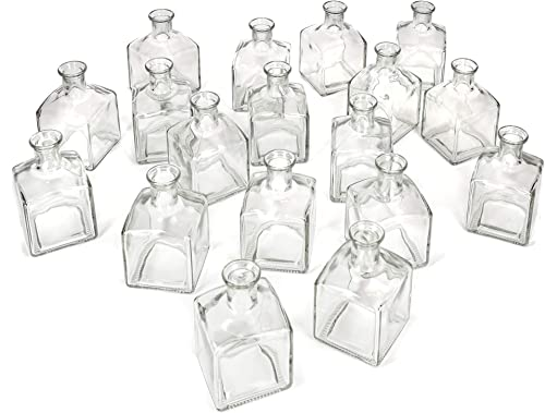 Serene Spaces Living Glass Bottle Bud Vases Set of 48, Vintage Square Bottle Style – Elegant Vases, 4.5 Tall by 2.75 Square