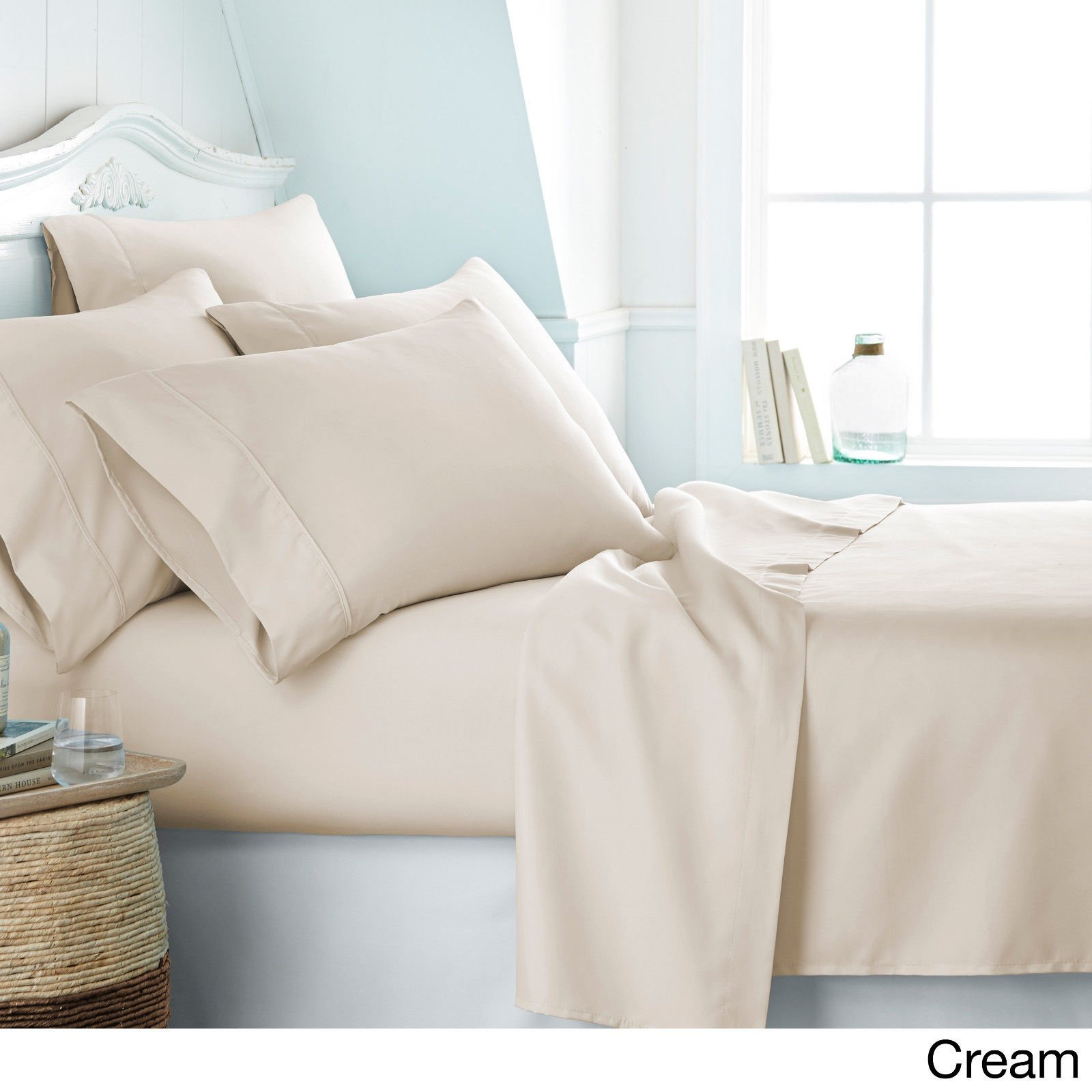 DEEP POCKET 2100 COUNT SERIES 6 PIECE BED SUPER SOFT SHEET SET Full SIZES/Cream