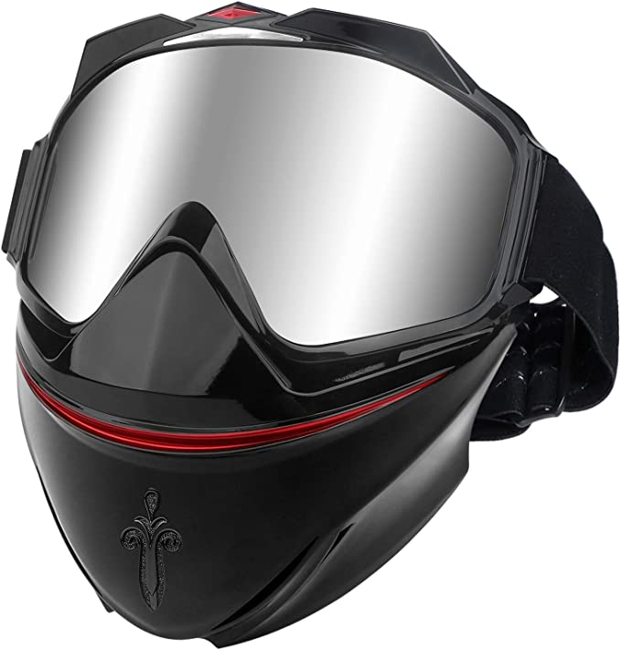 Riiai Motorcycle Riding Riding Goggles Helmet Glasses With Detachable Face Mask For Men WomenAnti-Fog Warm Goggles Adjustable Motocross Sunglasses For Outdoor