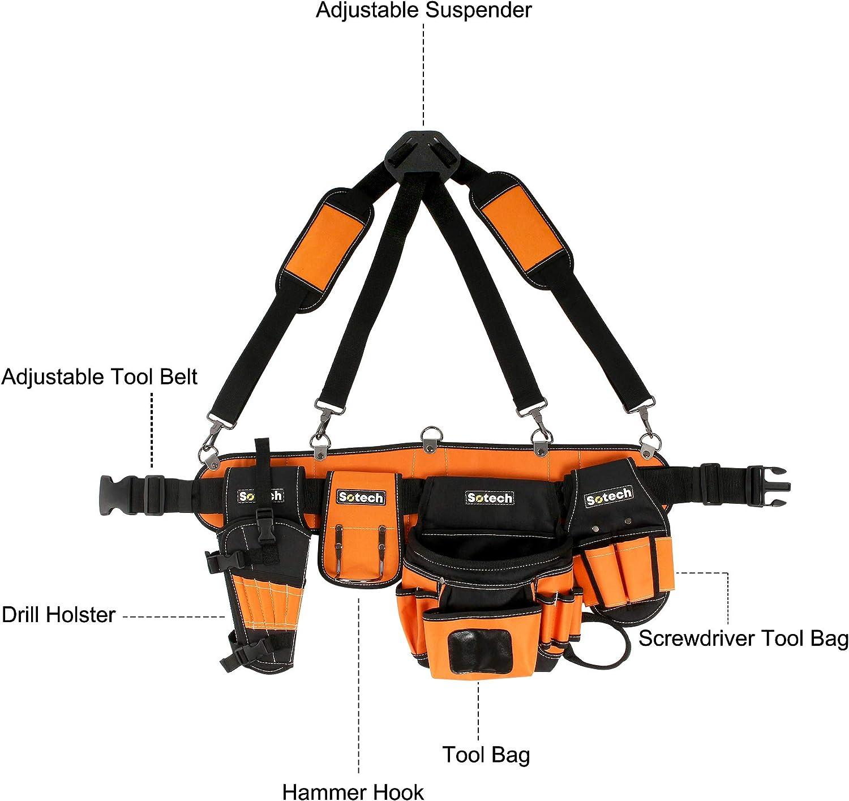 Werkzeugtasche mit verstellbarem G/ürtel Sotech Werkzeugg/ürtel Herren G/ürteltasche mit Magnet f/ür Handwerker Tischler