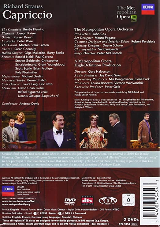 R Strauss Capriccio The Metropolitan Opera Hd Live Amazon Ca Fleming Renee Dvd