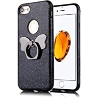 "Glitter Case for iPhone 7 Plus Black, Mistars Luxury Bling Sparkle Soft TPU Bumper with Butterfly Ring Stand Holder Anti-Scratch Shockproof Cover for Apple iPhone 7 Plus / 8 Plus (5,5"")"