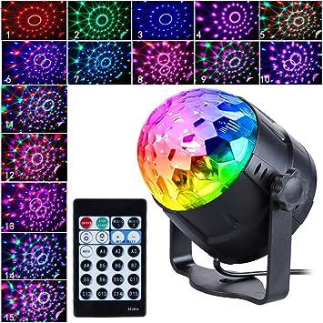 Anpro Discokugel Discolicht mit 15 Beleuchtungsform, Partylicht Led Disco  Ball Light Disco Lichteffekte RGB LED Partybeleuchtung für halloween deko,  ...