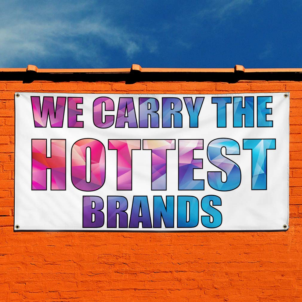 32inx80in 6 Grommets Vinyl Banner Sign We Carry The Hottest Brands Business Brand Marketing Advertising White Multiple Sizes Available Set of 2