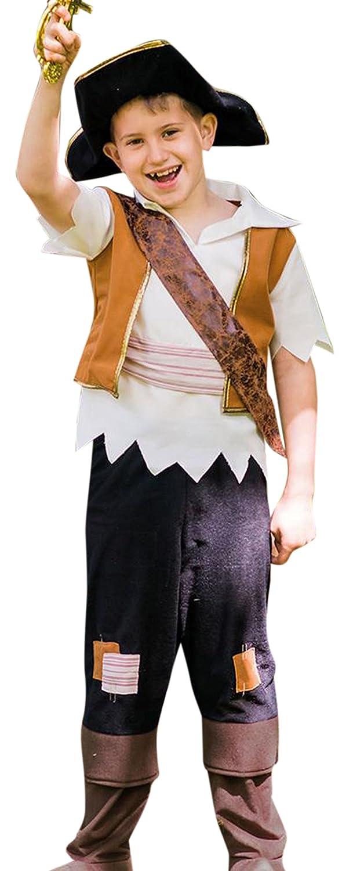 Halloweenia - Jungen Karneval Komplett Kostüm Pirate Pete , Braun, Größe 98-110, 3-5 Jahre