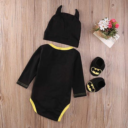 3Pcs//Set Newborn Baby Boy Batman Costume Romper Hat Sock Shoes Fancy Dress