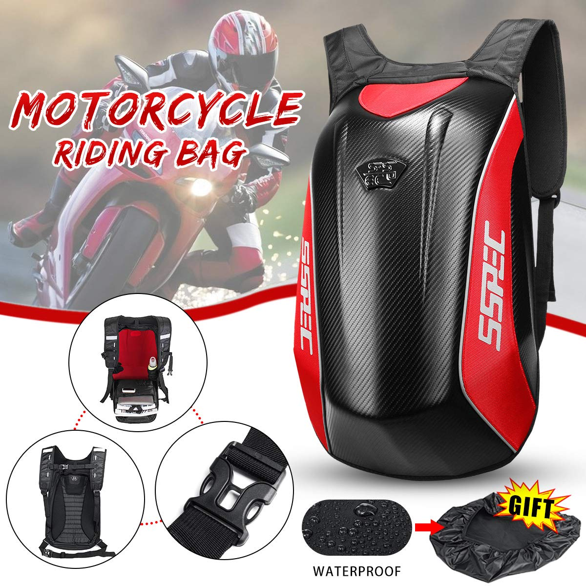 KingSo Motorcycle Backpack Universal Carbon Fiber Motorcycle Backpack Motocross Riding Racing Storage Bag (Red)