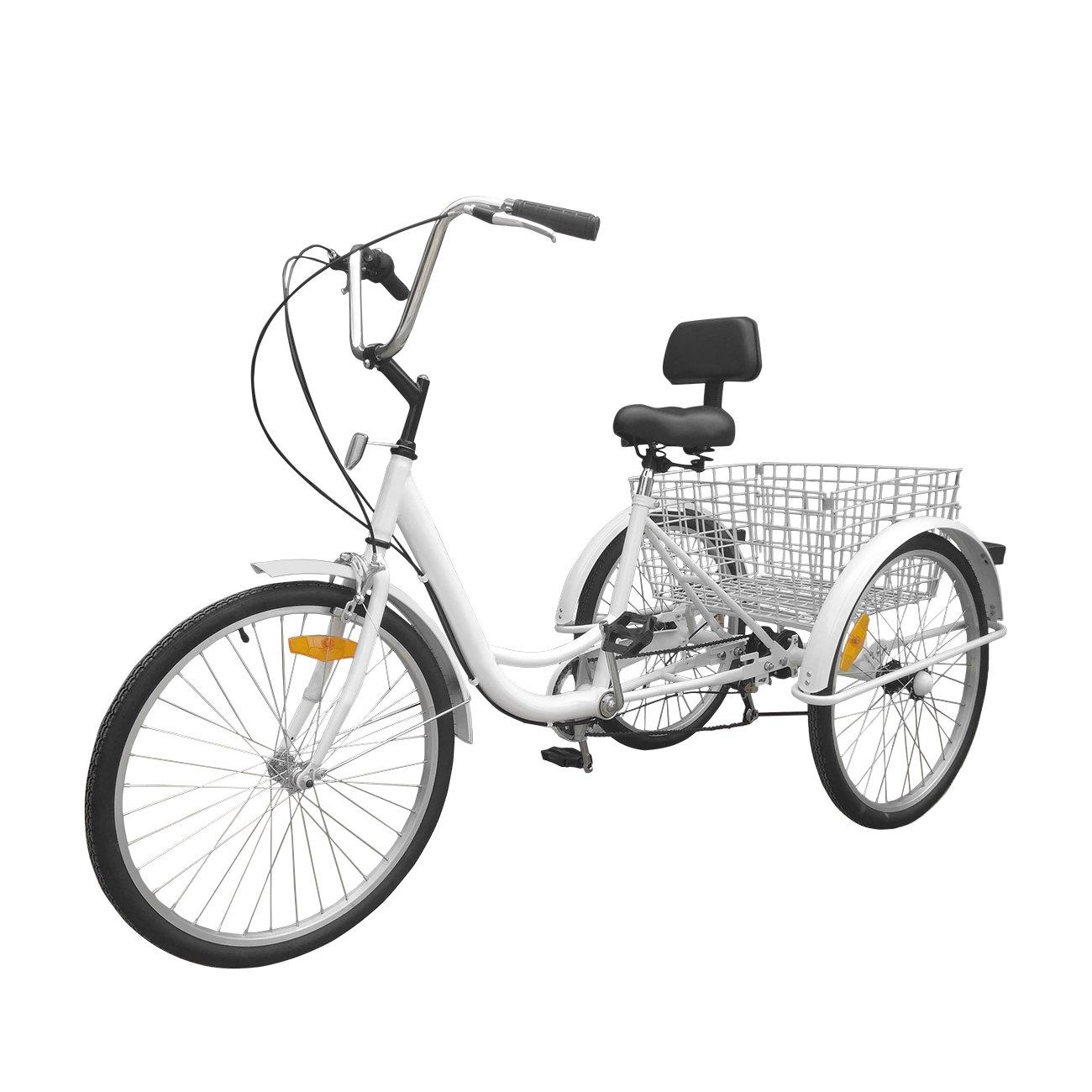 Paneltech 24  6 Vitesses Gears 3 Roue Tricycle Adulte V/élo pour Adultes Confort V/élo Sports de plein air Ville Panier de v/élo urbain inclus