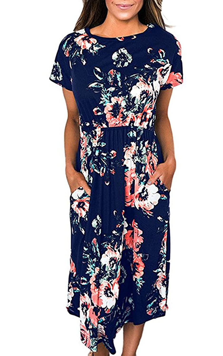 Greenis Summer Women Dress Floral Printed Cotton Short Sleeves
