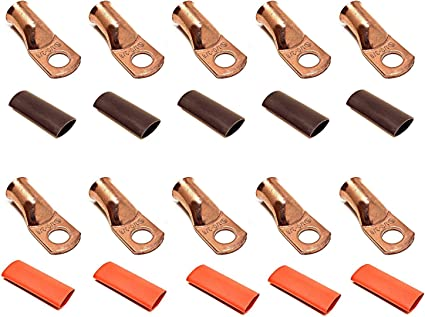 "25 PCS 8 AWG GA Copper Ring Terminal Heat Shrink 3//8/"" Hole stud Lug Connector US"