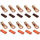 """10pcs 1/0 Gauge 1/0 AWG x 3/8"""" Pure Copper UL Listed Cable Lug Terminal Ring Connectors with Dual Wall Adhesive Lined Red + B"""