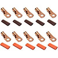 """10pcs 1/0 Gauge 1/0 AWG x 3/8"""" Pure Copper UL Listed Cable Lug Terminal Ring Connectors with Dual Wall Adhesive Lined…"""