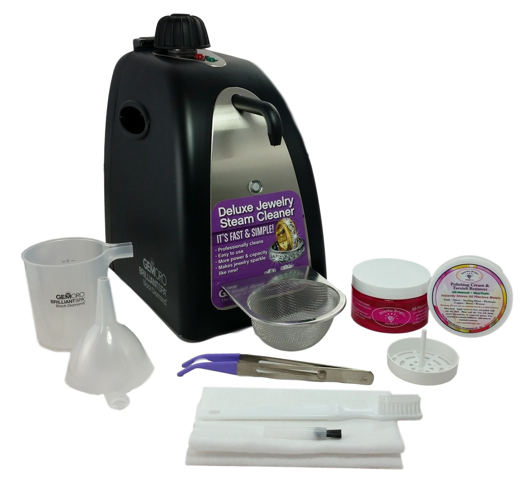 GEMORO 0362 BLACK DIAMOND BRILLIANT SPA BLACK MATTE STEAM JEWELRY CLEANING KIT Includes Sparkle Bright Products Jewelry Cleaner Kit