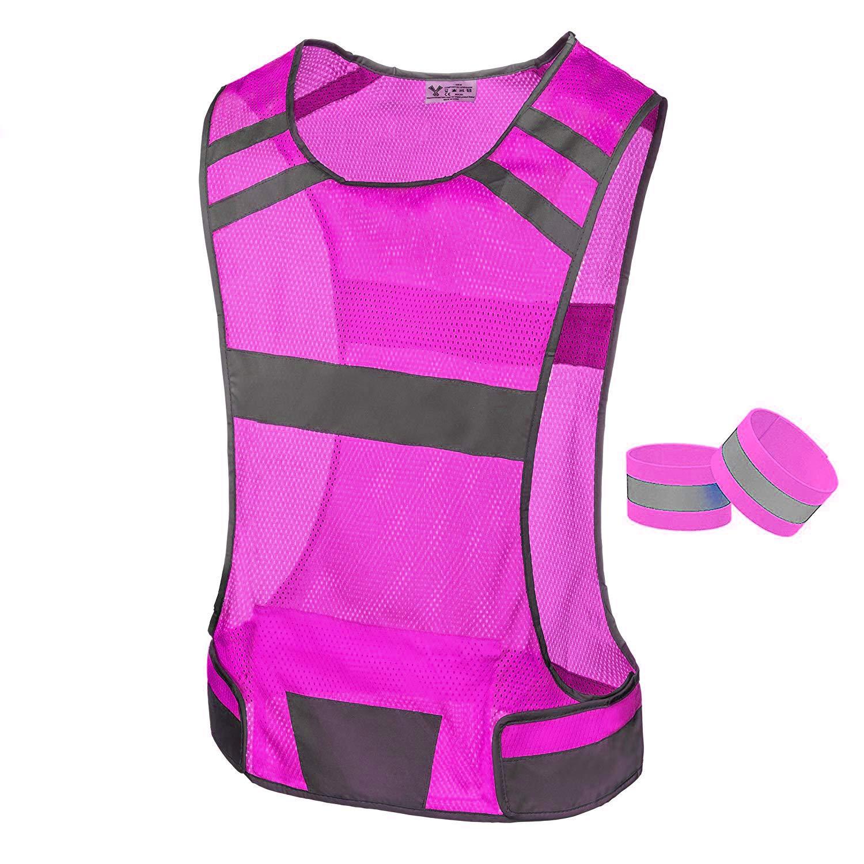 247 Viz Reflective Running Vest Gear | Stay Visible & Safe | Ultra Light & Comfortable Motorcycle Reflective Vest | Large Pocket & Adjustable Waist | Safety Vest | Free Bands (Pink, Medium)