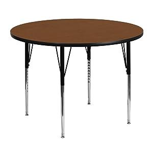 Flash Furniture 48'' Round Oak HP Laminate Activity Table - Standard Height Adjustable Legs