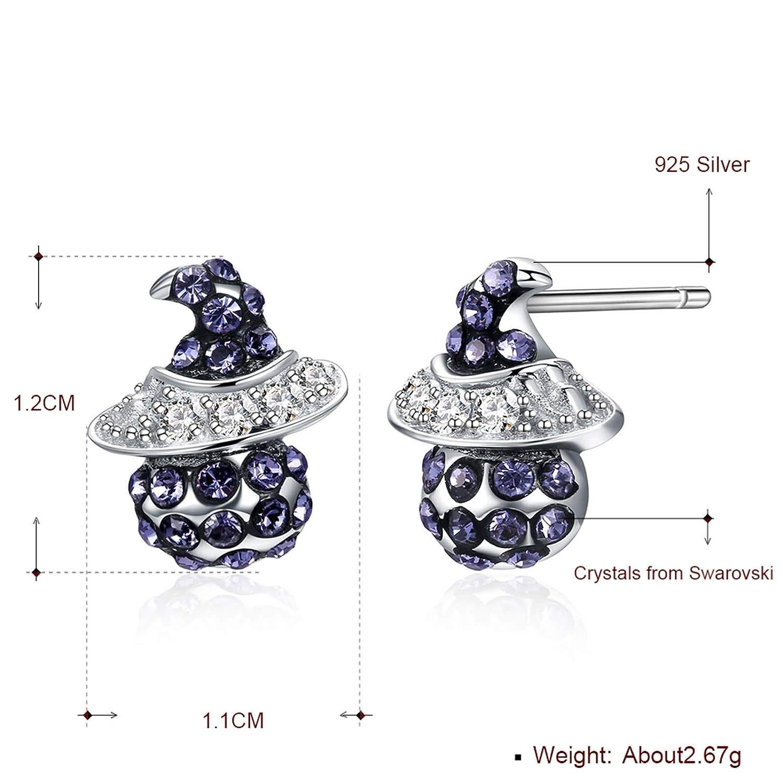 Daesar 925 Sterling Silver Earrings Stud Earrings for Women Santa Claus Crystal Earrings Wedding