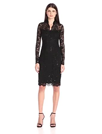 11131b74 Amazon.com: Marina Women's Long-Sleeve Lace Sequin Dress: Clothing