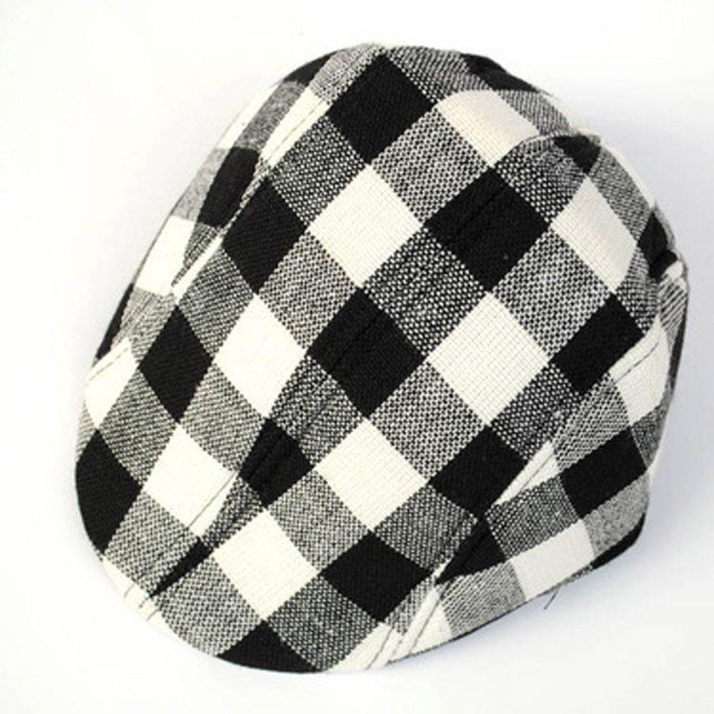 M-Egal Children Kids Beret Cap Plaid Hat Newsboy Cap Baseball Adjustable Hat