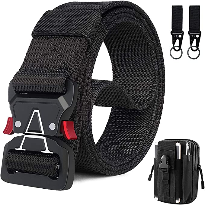 BESTKEE Nylon Military Belt with Quick-Release Metal Buckle 2 Pack Men Tactical Belt 1.5 Inch Heavy Duty Belt Gift with Tactical Molle Pouch and Hook