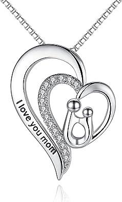 Amazon.com: Milamiya - Collar con colgante de corazón con ...