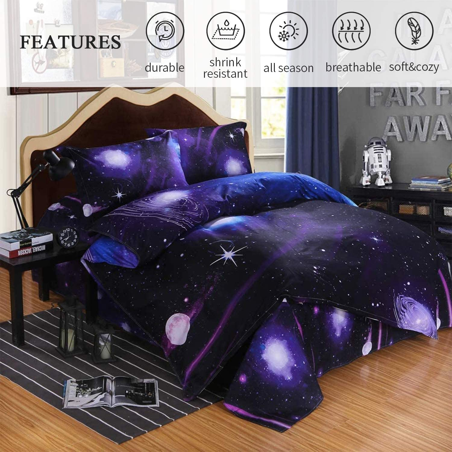 No Comforter,No Fitted Sheet Ammybeddings 4 PCs Full Size 3D Charming Galaxy Print Bedding Sets 1 Space Duvet Cover 2 Pillow Shams and 1 Flat Sheet Soft Stylish Home Decor Bed Set for Kids
