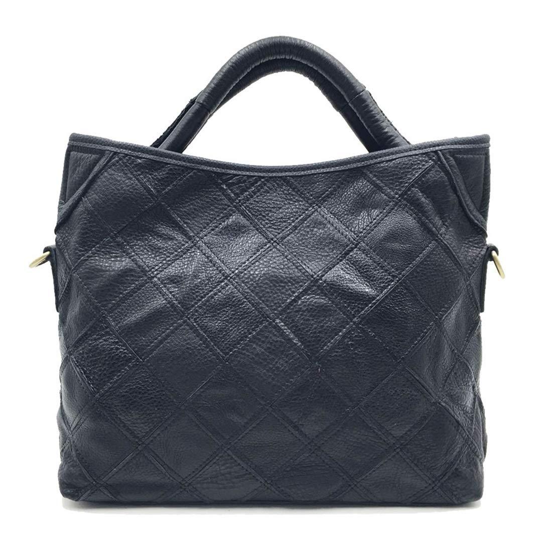 LilyAngel 本革 牛革 パッチワーク ハンドバッグ トットバッグ 斜め 旅行バック 鞄 カラーフリー レディース メンズ 収納 大容量 (Color : ブラック) B07KRRF8P3 ブラック