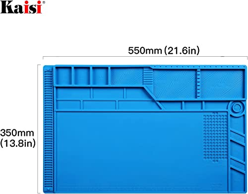 Kaisi Heat Insulation Silicone Repair Mat with Scale Ruler and Screw Position for Soldering Iron, Phone and Computer Repair Size 21.6 x 13.8 Inches