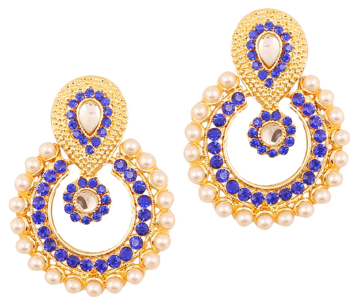 Touchstone Indian Bollywood Chandbali Moon Kundan polki Faux Pearls and Blue Sapphire Rhinestone Long Bridal Designer Jewelry Chandelier Earrings for Women in Gold Tone