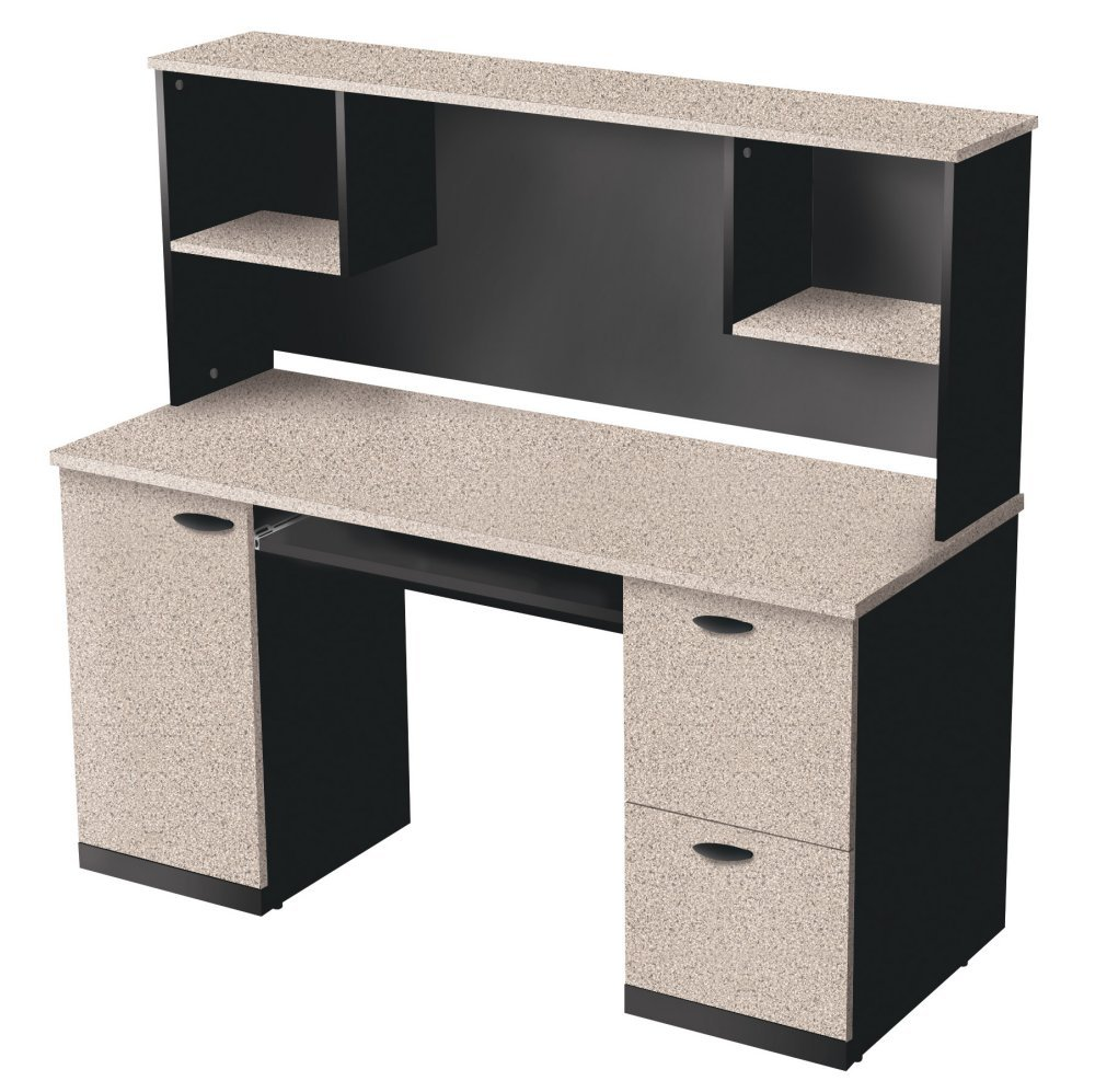 Amazon.com: Bestar Furniture 69450 3186 Hampton Credenza And Hutch With  Simple Pulls In Sand Granite And: Kitchen U0026 Dining