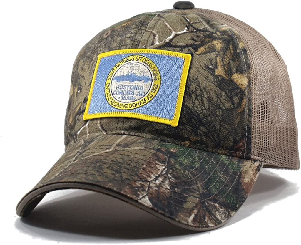 Homeland Tees Mens Boston Flag Patch Camo Trucker Hat