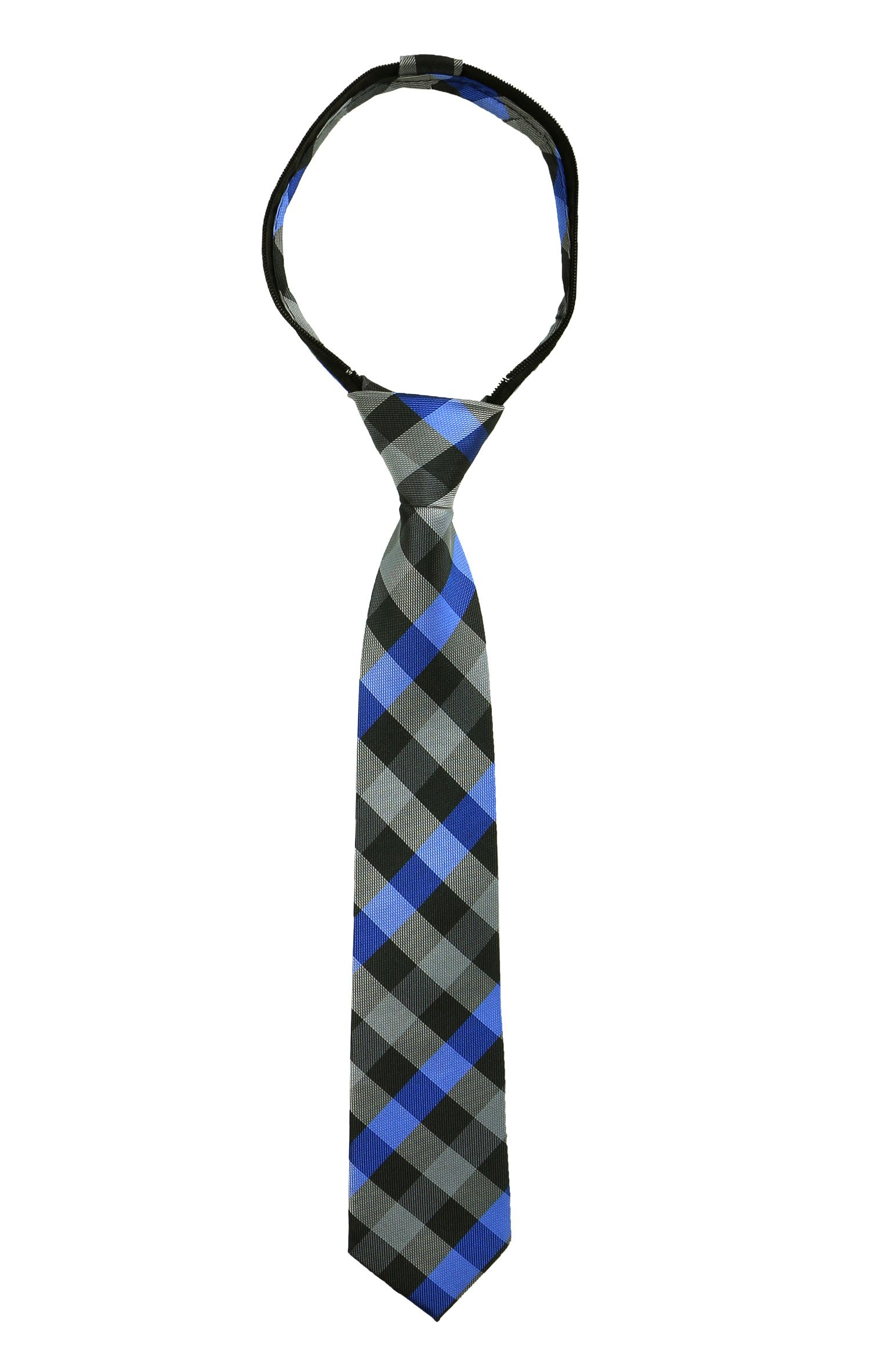 Spring Notion Boys' Pre-tied Woven Zipper Tie Large Checkered Blue