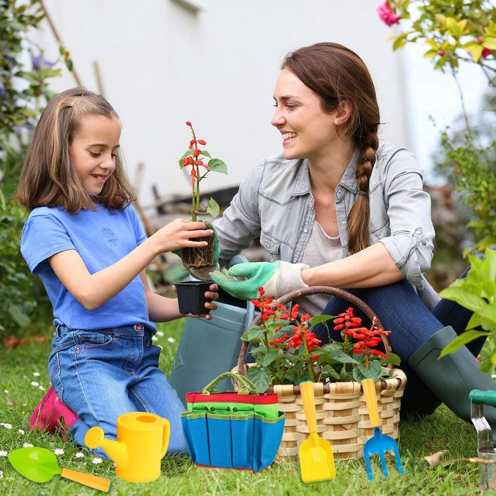 Trowel Cloth Bag Kids Garden Tool Toys Including Watering Can Shovel Rake PiscatorZone Children Gardening Tools Set