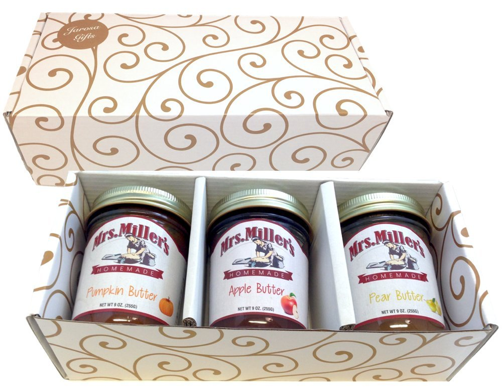 Favorite FRUIT BUTTERS Gift Assortment Box - 3 Jar Sampler, Variety Pack of Apple, Pumpkin and Pear Butter (9 oz full-sized jars) by Mrs. Miller's in a Gold Scroll Gift Box by Jarosa Gifts by Mrs. Miller's (Image #3)