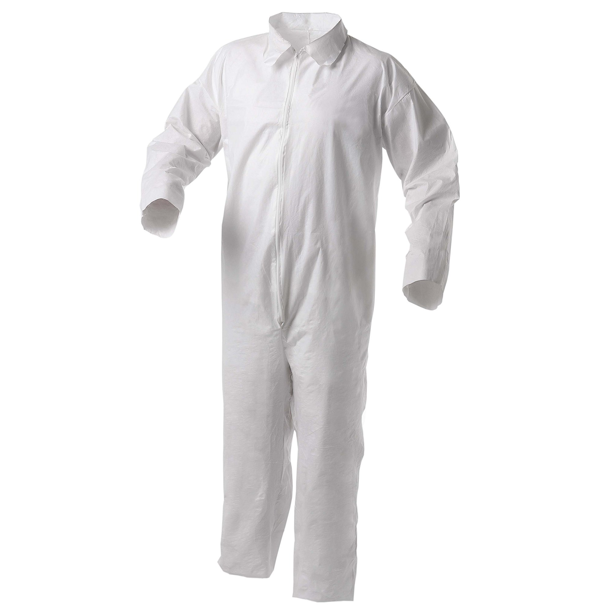 Kleenguard A35 Disposable Coveralls (38919), Liquid and Particle Protection, Zip Front, Open Wrists & Ankles, White, XL, 25 Garments / Case