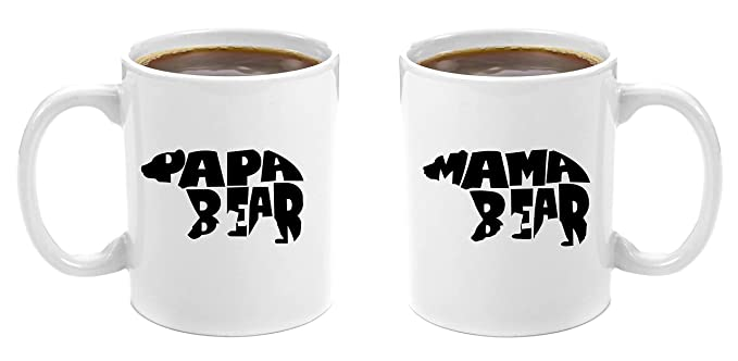 Gift Baskets for New Moms | Mama Bear & Papa Bear | Premium 11oz Coffee Mug Gift Set - Perfect Birthday Gifts for Mom and Dad, Anniversary Gifts for Parents, New Parents Gifts, Dad to be Gifts, Christmas Mom Dad His Grandparents