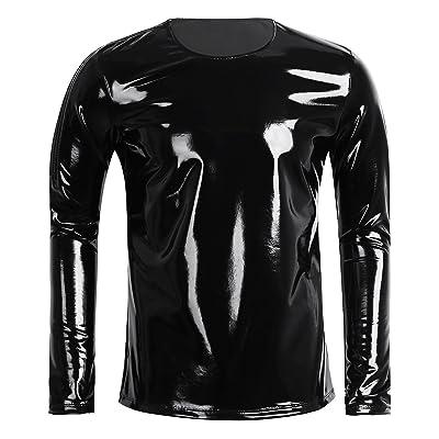 ACSUSS Men's Wetlook Patent Leather Side Zipper Long Sleeve T-Shirt Top Night Clubwear | Amazon.com