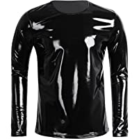 FEESHOW Men's Metallic PVC Leather Long Sleeve Stand Collar Zipper T-Shirts Top