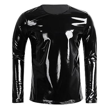 Herren T Unterhemd Yizyif Männer Shirt Tops Latex Look Langarm 4L53AjR