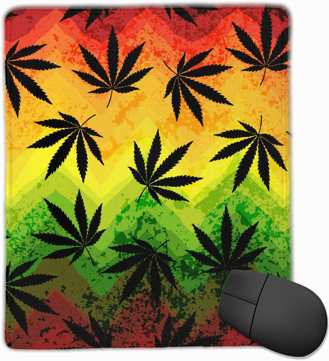 Hoja de Marihuana Rasta Colores Rectángulo Antideslizante Goma Mousepad Accesorios para computadora 18 x 22 CM