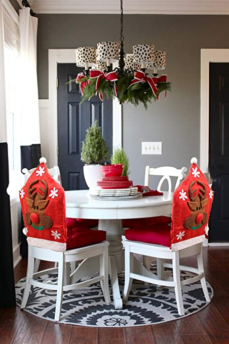 yuboo Christmas 3D Santa Dining Room Chair Covers, Chair Ornaments  Decorations for Christmas and New Year Party (3D red elk)