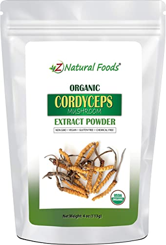 Organic Cordyceps Mushroom Powder – 4 1 Extract – Boost Energy Stamina – Enhance Athletic Performance – Natural Nootropic – Our Cordyceps Militaris is Vegan, Non GMO, Gluten Free – 4 oz