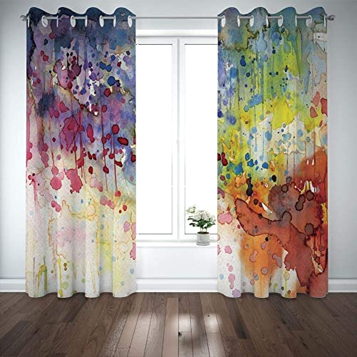 Grommet Blackout Curtains Digital Printing Thermal Insulated Curtains