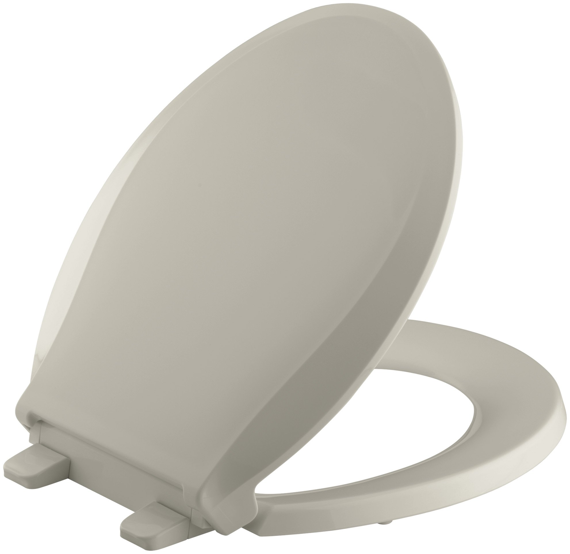 KOHLER K-4639-G9 Cachet Quiet-Close with Grip-Tight Bumpers Round-front Toilet Seat, Sandbar