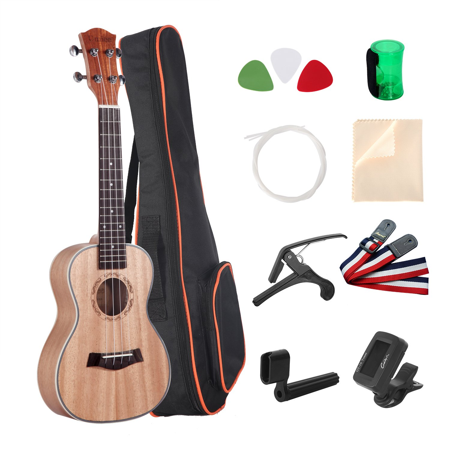 Umiee Concert Ukulele Mahogany, 23 inch Ukulele Starter Kits with Tuner/Strap/Carry Bag/Picks/Aquila String/Capo/Grover/Percussion Musical Egg/Clear Cloth by Umiee