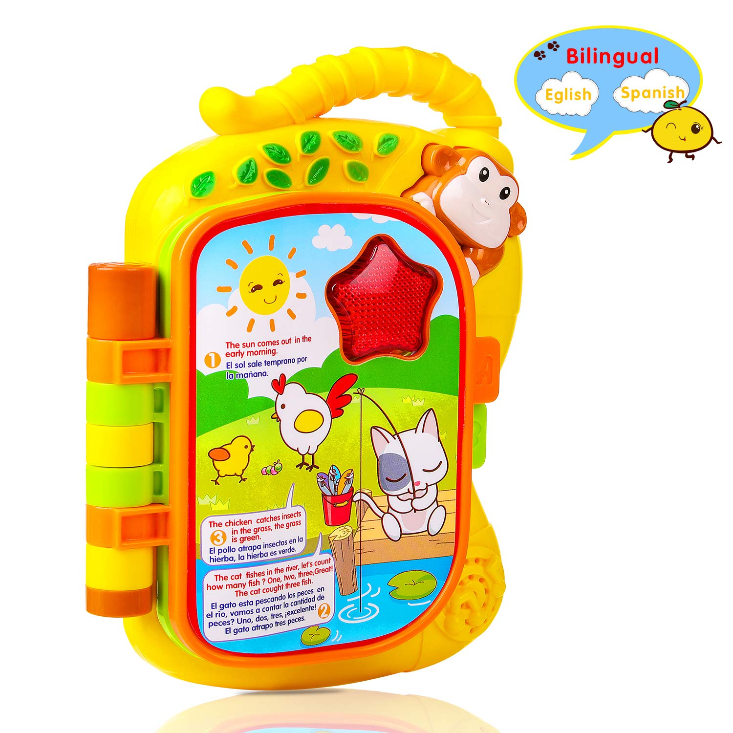 Amazon.com: M SANMERSEN Early Learning Book Toy, Laugh and Learn Storybook, Electronic Educational Toy Toddler Baby Learning Toy with English and Spanish ...