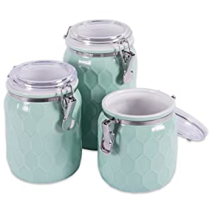 DII 3-Piece Modern Honeycomb Half Matte Glaze Ceramic Kitchen Canister Jar with Airtight Clamp Lid for Food Storage, Serve Coffee, Sugar, Tea, Spices and More Blue