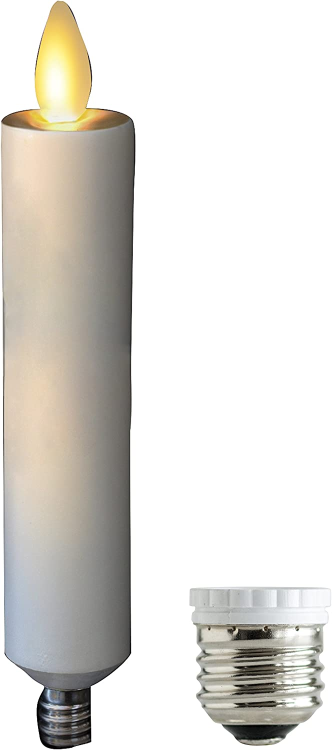 """Mystique Flameless Candle, Ivory 6"""" Taper, Plastic Candle With Realistic Flickering Wick and Converter, By Boston Warehouse"""