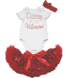 Petitebella Daddy is Valentine White Cotton Shirt Red Snowflakes Pant Set 1-8y