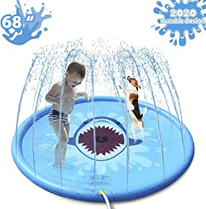 "HALOFUN 2020 New Shark Sprinkler Mat for Kids, 68"" Shark Sprinkler & Splash Plat Mat for Kids Outdoor Water Toy Splash Pad"