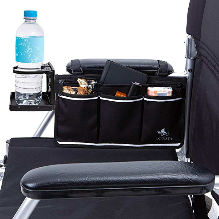 Wheelchair Side Bag with Large Cup Holder - Arm Rest Pouch and Drink CupHolder - Wheel Chair Accessories Organizers and Water Bottle Holder Fits Walkers, Rollators for Seniors and Handicap (Black)